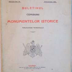 BULETINUL COMISIUNII MONUMENTELOR ISTORICE, PUBLICATIUNE TRIMESTRIALA, ANUL IX, FASC. 34, APRILIE - IUNIE 1916 - Carte Arhitectura