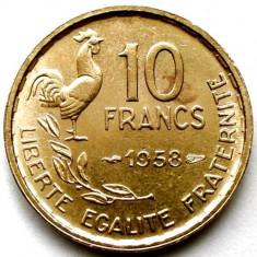 FRANTA, 10 FRANCS 1958, ULTIMUL AN DE BATERE, AN RAR !!!, Europa, Bronz