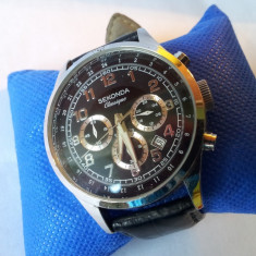 Ceas barbatesc deosebit SEKONDA Chronograph Classique 50M, Elegant, Quartz, Inox, Piele, Cronograf
