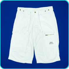 Pantaloni scurti cu snur, panza de bumbac, SMOG _ barbati | marimea L - Pantaloni barbati, Marime: L, Culoare: Alb, L