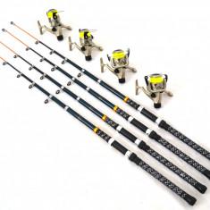 Kit 4 Lansete 3, 6m Cu 4 Mulinete Cu 4 Rulmenti Si Nailon Cadou - Set pescuit