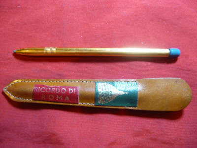 Pix aurit - Suvenir Ricordo di Roma, etui original din piele foto