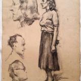 Carbune pe hartie Stavru Tarasov (1883-1961) nr. 1 - Pictor roman, Portrete, Realism