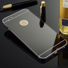 Bumper iPhone 6 6S Aluminiu + Capac Mirror Negru - Bumper Telefon