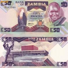 ZAMBIA, 50 KWACHA 1986~88, UNC