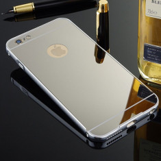 Bumper iPhone 6 6S Aluminiu + Capac Mirror Silver - Bumper Telefon, Gri