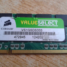 MEMORIE RAM LAPTOP DDR 1 GB CORSAIR VALUE SELECT 333 MHZ PERFECT FUNCTIONALA