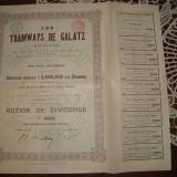 ACTIUNE DIVIDENDE TRAMVAIE GALATI 22 DECEMBRIE 1899