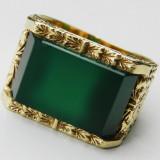 Inel antic aur 14k piatra superba jade unisex - Inel aur, Culoare: Galben, 57 - 67
