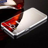 Bumper Aluminiu Samsung Galaxy A5 A510 2016 + Capac Mirror Silver, Alt model telefon Samsung, Gri, Metal / Aluminiu
