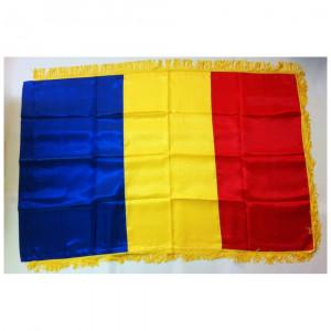 Steag tricolor Romania 135x90cm cu franjuri - Carnaval24