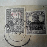 Ocupatia germana in Romania 1918 timbru ajutor 5 bani, supratipar MViR - Timbre Romania, Stampilat