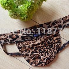 Jockstrap / suspensor / lenjerie intima fara spate semi-transparenta - leopard - Chiloti barbati, Marime: S/M, M/L, Culoare: Din imagine