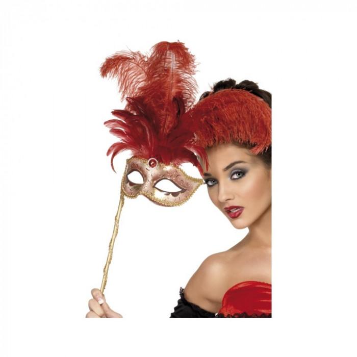 Masca Baroque Rosie Cu Maner - Carnaval24