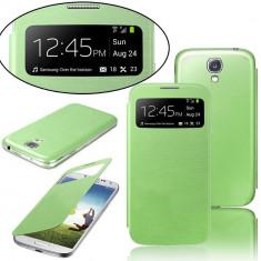 Husa Flip S View verde menta Samsung Galaxy S4 mini i9190 + folie - Husa Telefon Samsung, Negru, Carcasa