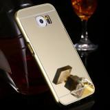 Bumper Aluminiu Samsung Galaxy S6 G920F + Capac Mirror Gold