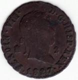 Regatul Spaniei - 2 Maravedis 1827 - Ferdinand al VII-lea