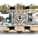 Inel art deco cu piatra aquamarine si diamante - Inel diamant, Carataj aur: 14k, Culoare: Galben