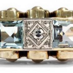 Inel art deco cu piatra aquamarine si diamante transport zero