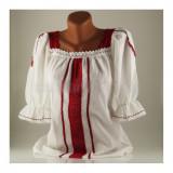 Ie traditionala romaneasca cu maneca scurta, marime 42, alb/rosu - Carnaval24
