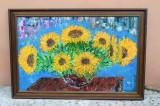 DEOSEBIT TABLOU PICTAT MANUAL, TEHNICA CUTIT,FLOAREA SOARELUI, Natura, Guasa, Realism