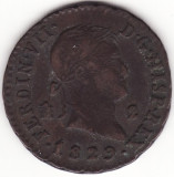 Regatul Spaniei - 2 Maravedis 1829 - Ferdinand al VII-lea