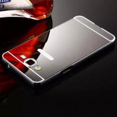 Bumper Aluminiu Samsung Galaxy A5 A510 2016 + Capac Mirror Black - Husa Telefon Samsung, Negru, Metal / Aluminiu, Fara snur, Carcasa