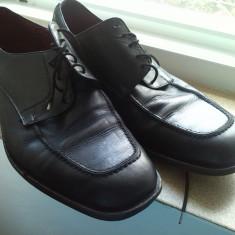 Pantofi piele negri marime 44 - Pantofi barbat, Culoare: Negru