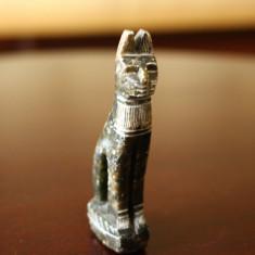 Sculptura marmura pisica egipteana Luxor veche realizata manual