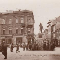 GALATI, PIATA REGALA MONUMENTUL C.NEGRI MAGAZINE CAMINUL SIONIST MASINA EPOCA - Carte Postala Moldova 1904-1918, Stare: Necirculata, Tip: Fotografie