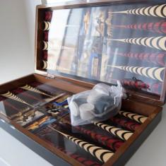 Set joc table model Romania lemn lacuit puluri zaruri piese sah incluse - Set table