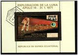 Guinea Equatorial 1973 misiunile Apollo -14- colita stampilata cu foita de aur