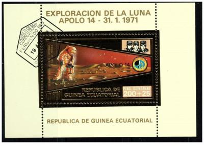 Guinea Equatorial 1973 misiunile Apollo -14- colita stampilata cu foita de aur foto
