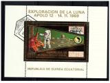 Guinea Equatorial 1973 misiunile Apollo -12- colita stampilata cu foita de aur