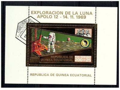 Guinea Equatorial 1973 misiunile Apollo -12- colita stampilata cu foita de aur foto