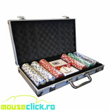 Set poker profesional 500 piese valiza metalica 2 perechi carti