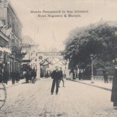 GALATI, STR DOMNEASCA IN FATA LIBRARIEI NOUA NEGOESCU & MANITIU CIRC.AUG'907 - Carte Postala Moldova 1904-1918, Stare: Circulata, Tip: Printata