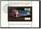 Guinea Equatorial 1973 misiunile Apollo -16- colita stampilata cu foita de aur
