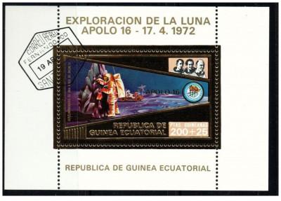 Guinea Equatorial 1973 misiunile Apollo -16- colita stampilata cu foita de aur foto