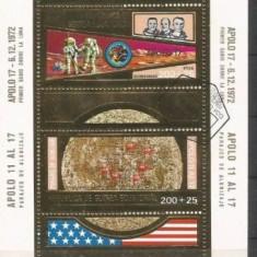 Guinea Equatorial 1973  Apollo 11 si 17- colita stampilata cu foita de aur