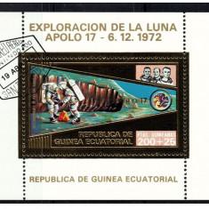 Guinea Equatorial 1973 misiunile Apollo -17- colita stampilata cu foita de aur