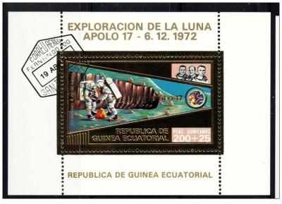 Guinea Equatorial 1973 misiunile Apollo -17- colita stampilata cu foita de aur foto