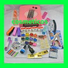 Kit set unghii false gel - lampa,pila,cleste - KIT 4 gel ccn + 12 gel color, Sina