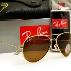 Ochelari de Soare Casual RayBan Ray Ban Model 3026 Lentila Maro Rama Aurie - Ochelari de soare Ray Ban, Unisex, Pilot, Metal, Protectie UV 100%