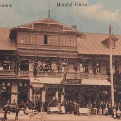 COMARNIC HOTELUL GHICA, RESTAURANT SI FRIZERIE GHITA POPOVICI, TRASURA EPOCA - Carte Postala Muntenia 1904-1918, Necirculata, Printata