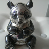 Ursulet din alama argintata, vechi, marcat, stantat, de colectie/decor - Metal/Fonta