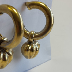 Cercei argint poleiti cu aur Inimioara Vintage Eleganti si de efect Impecabili