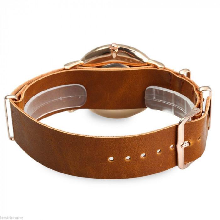 Ceas unisex model tip GENEVA clasic auriu bratara piele eco + cutie simpla cadou