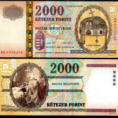 UNGARIA BANCNOTA 2000 FORINT 2000 MILLENNIUM UNC IN FOLDER DE PREZENTARE - bancnota europa