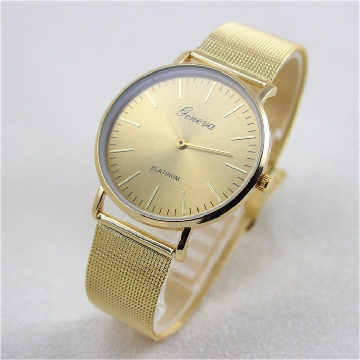 Ceas unisex model tip GENEVA clasic auriu bratara metalica + cutie simpla cadou